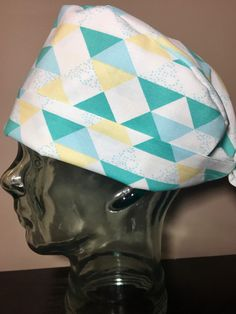 Turquoise, Blue & Yellow Modern Triangle Scrub Hat, Women's Pixie Scrub Cap, Operating Room Hats, Custom Caps Company by CustomCapsCompany on Etsy