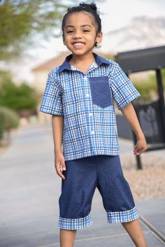 Porter's Shirt and Jakob's Cuffed Shorts Patterns by CKC Patterns | Fabric: At the Lake by Tara Reed for Riley Blake Designs Tara Reed, The Porter, Riley Blake, All Smiles, S Shirt, Little Man, Fabric Patterns, New Outfits, Patterned Shorts