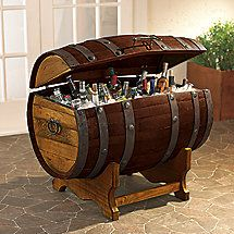 Reclaimed Tequila Barrel Ice Chest and Stand