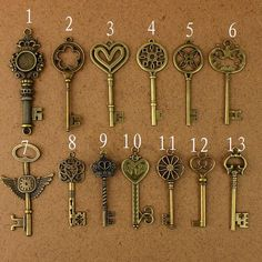 Wholesale of each Vintage Pendant Antique Bronze Alloy Key Charms Metal Charm Alloy Charms Antique Keys, Vintage Keys, Vintage Pearls, Compass Tattoo, Key Tattoos, Tattoo Key, Magical Jewelry, Old Keys, Key Jewelry