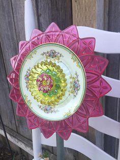 Plate Flower Vintage Glass Garden Decor Savannah