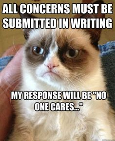 all concerns must be submitted in writing my response will b - Grumpy Cat