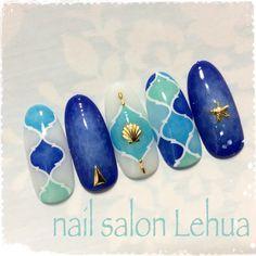 Sea Nails, Blue Nails, Sculpted Gel Nails, Vacation Nails, Kawaii Nails, Japanese Nail Art, Latest Nail Art, Toe Nail Art, Nail Art Hacks