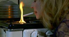 Maria Braun lighting her cigarette in The Marriage of Maria Braun