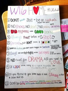 Most popular house party rules poster Ideas College House, College Apartments, College Fun, House Party Rules, Roommate Rules, First Apartment Checklist, Senior Week, Teen Party Games, 18th Birthday Party