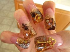 better pic of my nails by from Nail Art Gallery Cute Nails, My Nails, Steampunk Nails, Purple Curtains, Paws And Claws, Nail Art Galleries, Nails Magazine, Essie, Nail Designs