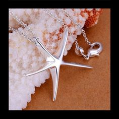 """925 Silver Starfish Necklace Please ask for separate listing. Beautiful starfish necklace 925 silver. 18"""" chain. 2 Jewelry Necklaces"""