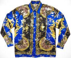 Versace Italien Stil Mens große Seide metallisch blau von style1000