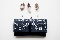 Want this SO bad | Tribal Pattern Leather Suede Navy Blue with White No. LP-101. $52.00, via Etsy.