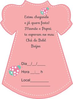 Convite vestidinho para chá de bebê