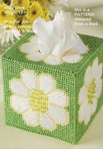 "Free Patterns Plastic Canvas Angels | Daisy Tissue Box Cover"" Plastic Canvas Pattern 