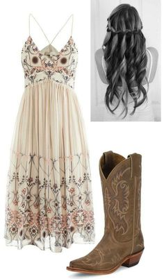 not one to wear cowboy boots but I love the hair and dress