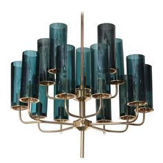 Brass & Blue Glass Tube Chandelier by Hans Agne Jakobsson | From a unique collection of antique and modern chandeliers and pendants  at https://www.1stdibs.com/furniture/lighting/chandeliers-pendant-lights/