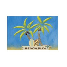 Beach Bum, Surfboards, Palm Trees and Sand Yard Sign
