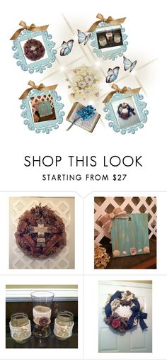 """Blues & Chocolate Decor"" by elsiescreativedesign ❤ liked on Polyvore featuring interior, interiors, interior design, home, home decor, interior decorating, rustic, rusticwedding, rusticdecor and integrityTT"