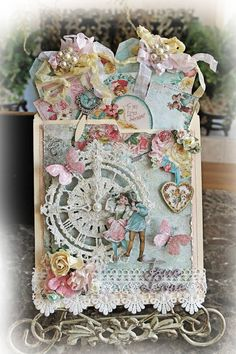 Blue Fern Studios Design Team Project By Renea Harrison: True Love Pocket Journal featuring the Blue Fern Blush Paper Collection, Blue Fern Floral Clock and Two Hearts Chipboard
