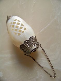 Victorian Chatelaine Clam Shell Perfumer Mother of by SmakBoutique, $425.00