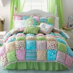 New JCPenney AKELA Puff Top TWIN Girl Teen Comforter Set $200 Pink