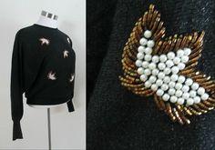 Vintage 1960s Black Beaded Pullover Lurex by rileybellavintage