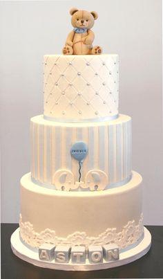 First Birthday cake Torta Baby Shower, Tortas Baby Shower Niña, Baby Shower Sweets, Baby Birthday Cakes, Baby Boy Cakes, Christening Cake Boy, Teddy Bear Cakes, Teddy Bear Baby Shower, Elephant Cakes