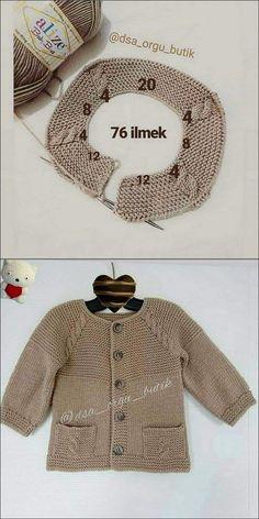 Baby Cardigan Knitting Pattern Free, Baby Hats Knitting, Knitting For Kids, Baby Knitting Patterns, Knitting Designs, Baby Patterns, Crochet Sweater Design, Knit Baby Sweaters, Knit Fashion