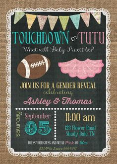 gender reveal invitation touchdown or tutu lace by katiedidesigns