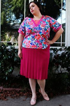 Plus Size - Vintage Pink Floral Jersey Blouse w/ Color Block Detailing by TheCurvyElle, $18.00