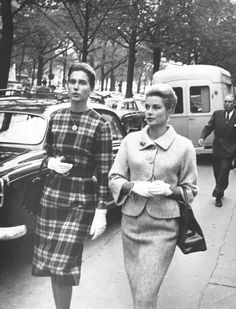 Princess Grace and an unknown woman in the streets of Paris in the early 60s.