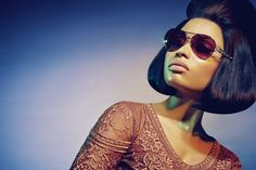 Nicki Minaj Looks Totally Different (Still Like A Mega Babe) In Roberto Cavalli Campaign #refinery29  http://www.refinery29.com/2014/12/79809/nicki-minaj-roberto-cavalli#slide8  Despite maintaining her stone-cold pout, Minaj is smizing beneath those glasses.