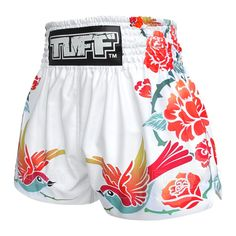 TUFF Muay Thai Boxing White Shorts Birds And Roses Inspired by Ancient Drawing