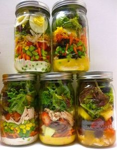 Great idea for a healthy make-ahead meal for chemo week and days when you don't feel like or have time for doing alot in the kitchen.Mason Jar Salads used wide mouth mason jars from Hobby Lobby (1/2 off glass sale) for easy cleaning.