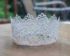 Gorgeous tatted crown…stunning for a bridal headpiece, no? spray  paint and glitter great for princess crown