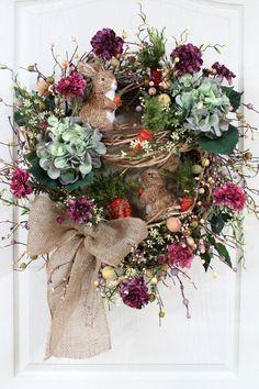 Easter Door Wreath, Primitive Country Wreath, Easter Wreaths, Easter Bunnies, Easter Pip Berries, Easter Decor -- FREE SHIPPING. $168.00, via Etsy.