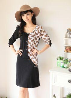Korea Fashion Bow Printing Slim Dress