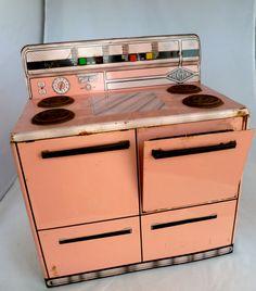 4 piece vintage wolverine pink metal kitchen refrigerator for 3 piece metal kitchen units