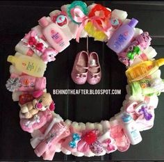 Make a wreath from helpful child gadgets for a child bathe present...