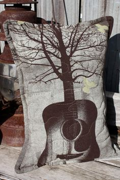 Guitar Throw Pillow-Music in the Trees-Upcycled Eco Friendly-Quilted.
