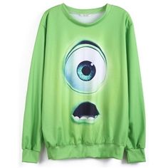 Green Monsters University Print Sweatshirt   Victoriaswing