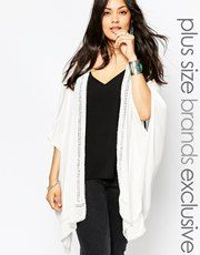 New Look Inspire Kimono With Crochet Detail