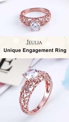 The graceful engagement ring for her is an honest declaration of your love. A rose gold round cut created white sapphire sparkles in the spotlight. The vines design boasts an indulgent vintage inspiration to make it unique. Jeulia's signature is inscribed inside the band. #JeuliaJewelry