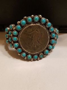 Vtg Navajo-Walking Liberty Old Coin Silver Bracelet Sterling Silver Turquoise