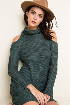 Open Shoulder Knit Dress
