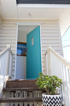 Beach Style Entry by Walk Among The HomesExterior paint: door: Nefertiti, Porter's Paints; siding: Self Destruct, Dulux; Coastal Homes, Coastal Decor, Weatherboard Exterior, Cottage Front Doors, Turquoise Door, Queenslander, Simple Interior, Beach Shack, House Paint Exterior