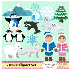 Arctic Animals Clipart Set Instant Download by BeckyLynnCreations