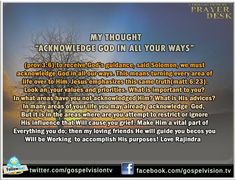 Acknowledge God in all your ways