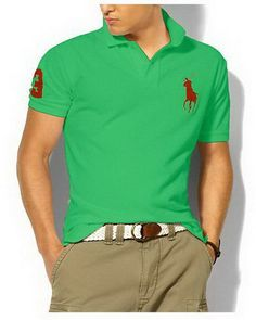 Ralph Lauren Custom Fit Big Pony Polo Shirt Spring Green http://www.