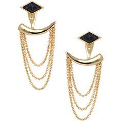 Stella & Dot Drape Ear Jacket ($49) ❤ liked on Polyvore featuring jewelry, earrings, polish jewelry, stella dot jewellery, gold stud earrings, chains jewelry and studded jewelry