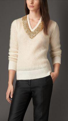Burberry London Embellished Neckline Mohair Blend Sweater