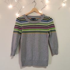 Gap fair Isle sweater Fitted 3/4 length Gap sweater. Color fair isle style Only worn a few times and in excellent condition. GAP Sweaters Crew & Scoop Necks
