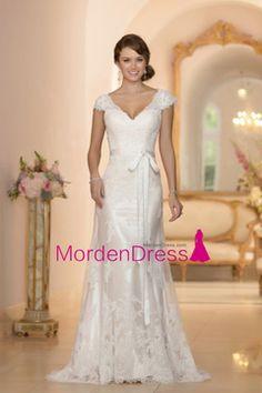 2016 V Neck Short Sleeve Wedding Dresses A Line Tulle With Applique Open Back US$ 219.99 MDP89NHHR3 - MordenDress.com for mobile